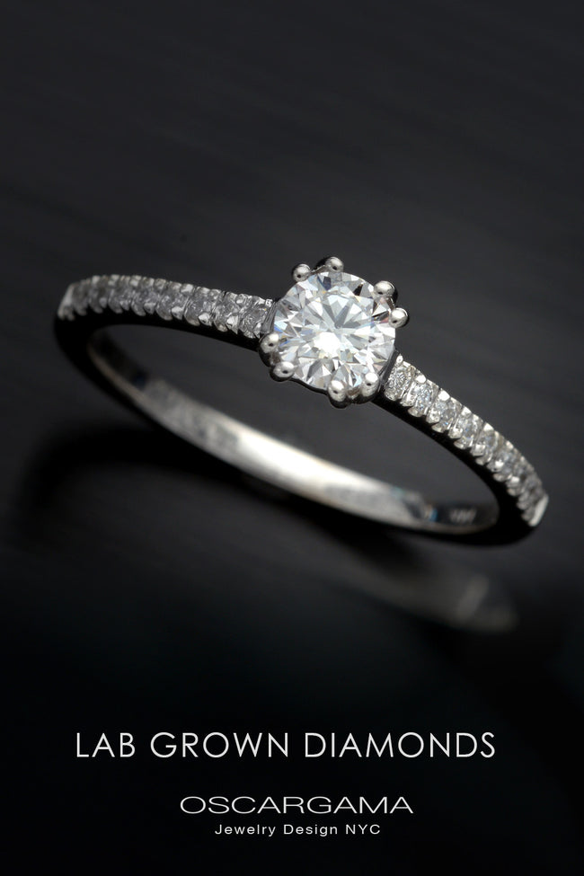 Lab Grown Diamond Classic Solitaire with pave on the shank