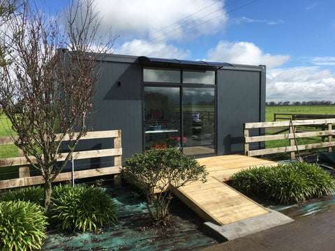 Custom built container home with disabled access in New Zealand