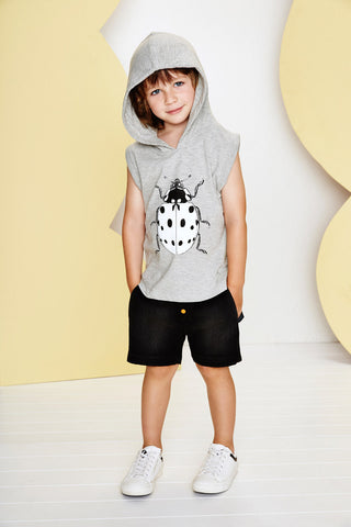 Bug Print Grey Sleeveless Hoodie Top
