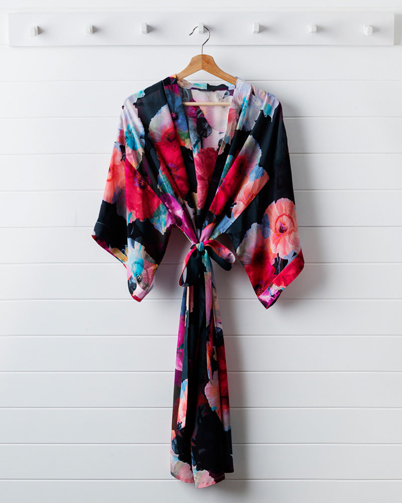 Dark Poppy Silk Dressing Gown