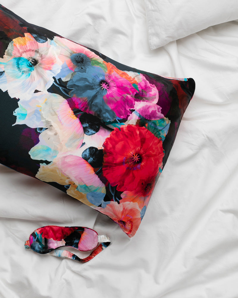 Dark Poppy Silk Pillowcase and Eye Mask