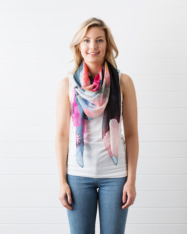 Dark Poppy Silk Scarf