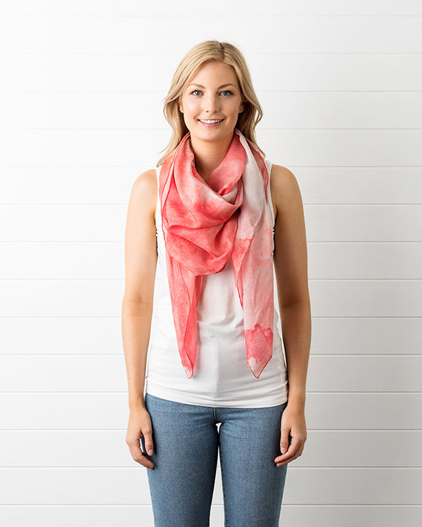 Peach Ink Silk Scarf