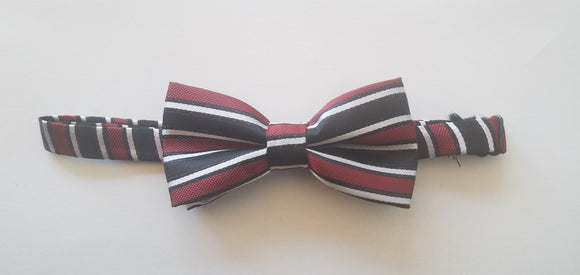Black and Red Striped Bowtie