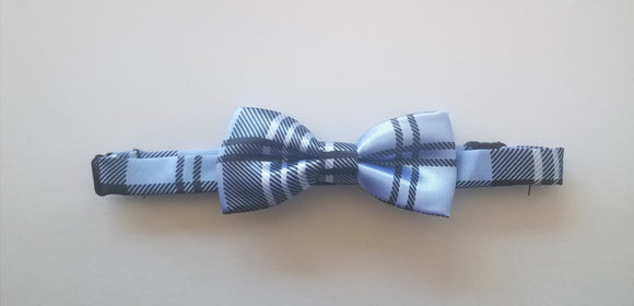 Navy and Blue Check Bowtie