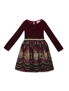 Burgundy Velvet Bodice Dress