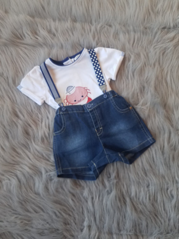 Denim Crab Short Set
