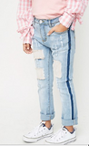 Distressed Patch Work Jeans