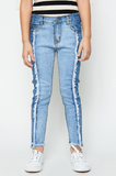 Two-Toned Frayed Denim Jeans