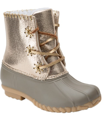 Metallic Two Tone Duck Boots
