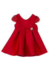Red Mikado Pleated Dress