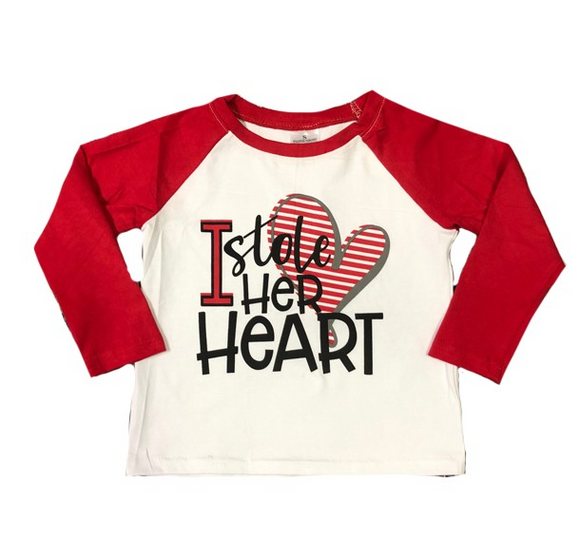 I Stole Her Heart Boys Valentine Tee