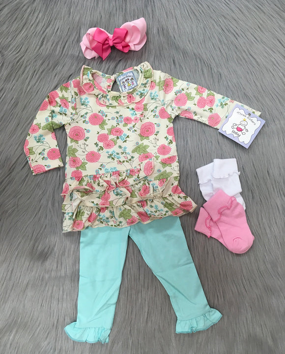 Floral Ruffle Top Legging Set