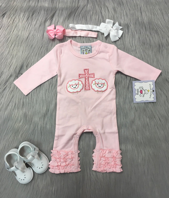 Cross and Lamb Applique Romper