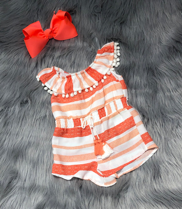 Coral Striped Romper