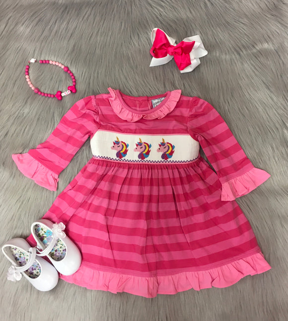 Pink Striped Unicorn Smocked Dress