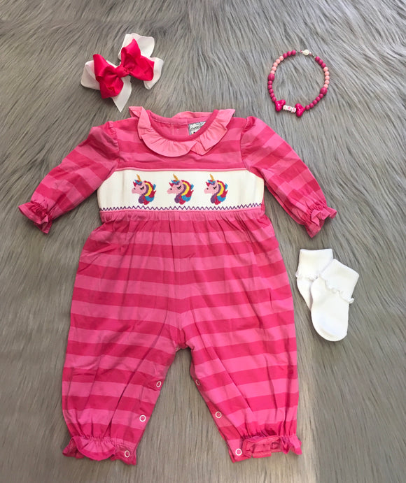 Pink Striped Unicorn Smocked Bubble Romper