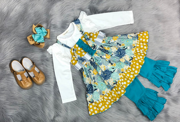 Flower Burst 3 pc Ruffle Pants Set