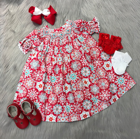 Red Snowflake Smocking Dress