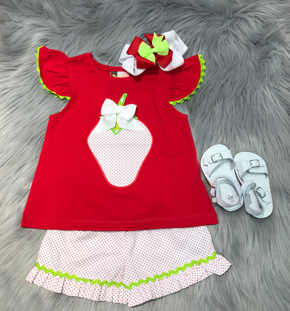 Strawberry Applique T-shirt and Shorts