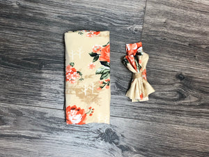 Ivory Floral Blanket with Matching Headband