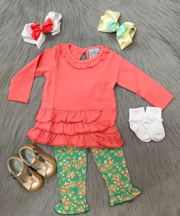 Coral Ruffle Top Legging Set