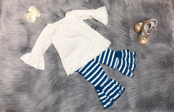 Peacock Blue Flare Pants Set