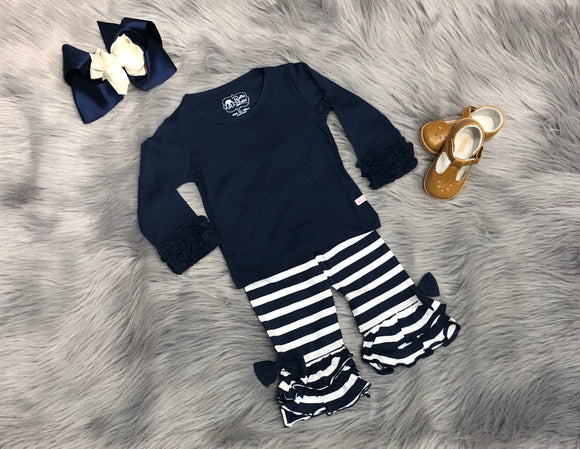 Navy Ruffle Flare Pants Set