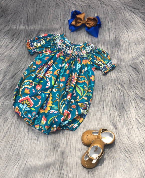 Teal Floral Smocking Bubble