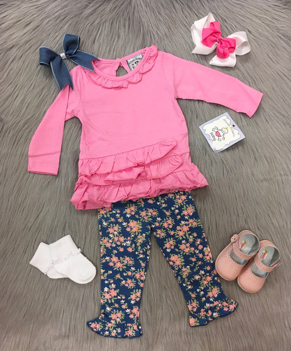 Pink Ruffle Top Legging Set