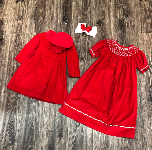 Red Pearl Smocking Dress