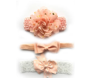 3 Pc Chiffon Flower Headband Set