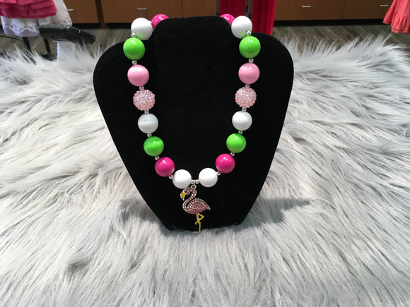 Flamingo Rhinestone Bubble Necklace