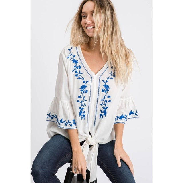 Ivory &Blue Embroidered Top