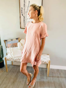 Blush Ruffled Midi Dress