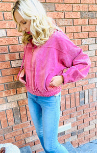 Solid Textured Velvet Hooded Bomber Jacket - Mauve