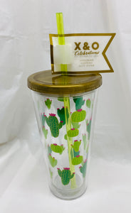Cactus Insulated Tumbler with Straw