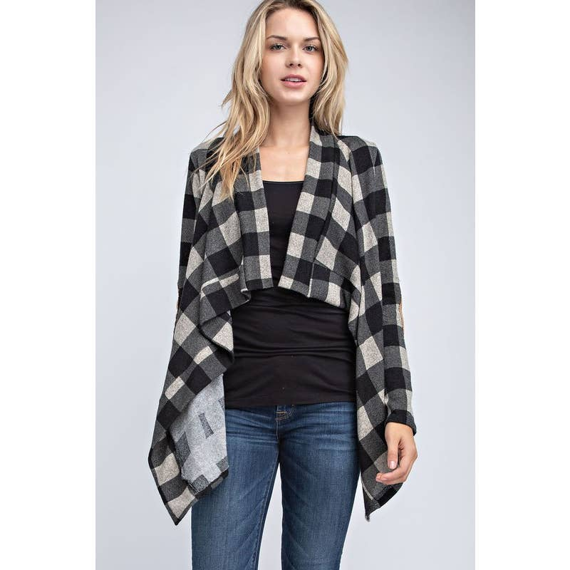 Black and White Buffalo Plaid Cardigan