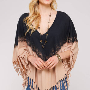 Dip Dye Fringed V Neck Poncho color Black & Mocha