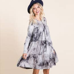 Tie-Dye Knit Tiered Dress