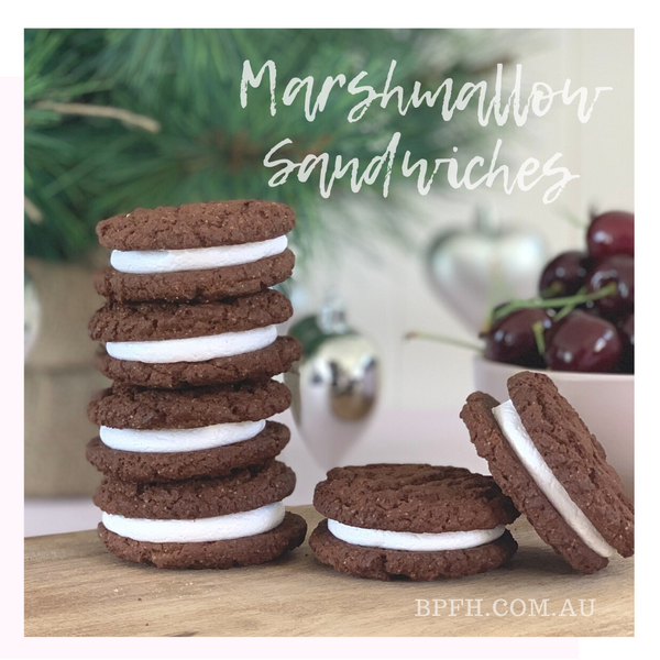 Marshmallow sandwiches made using Backpalate Flavour House Marshmallow mix and chocolate ripple biscuits.