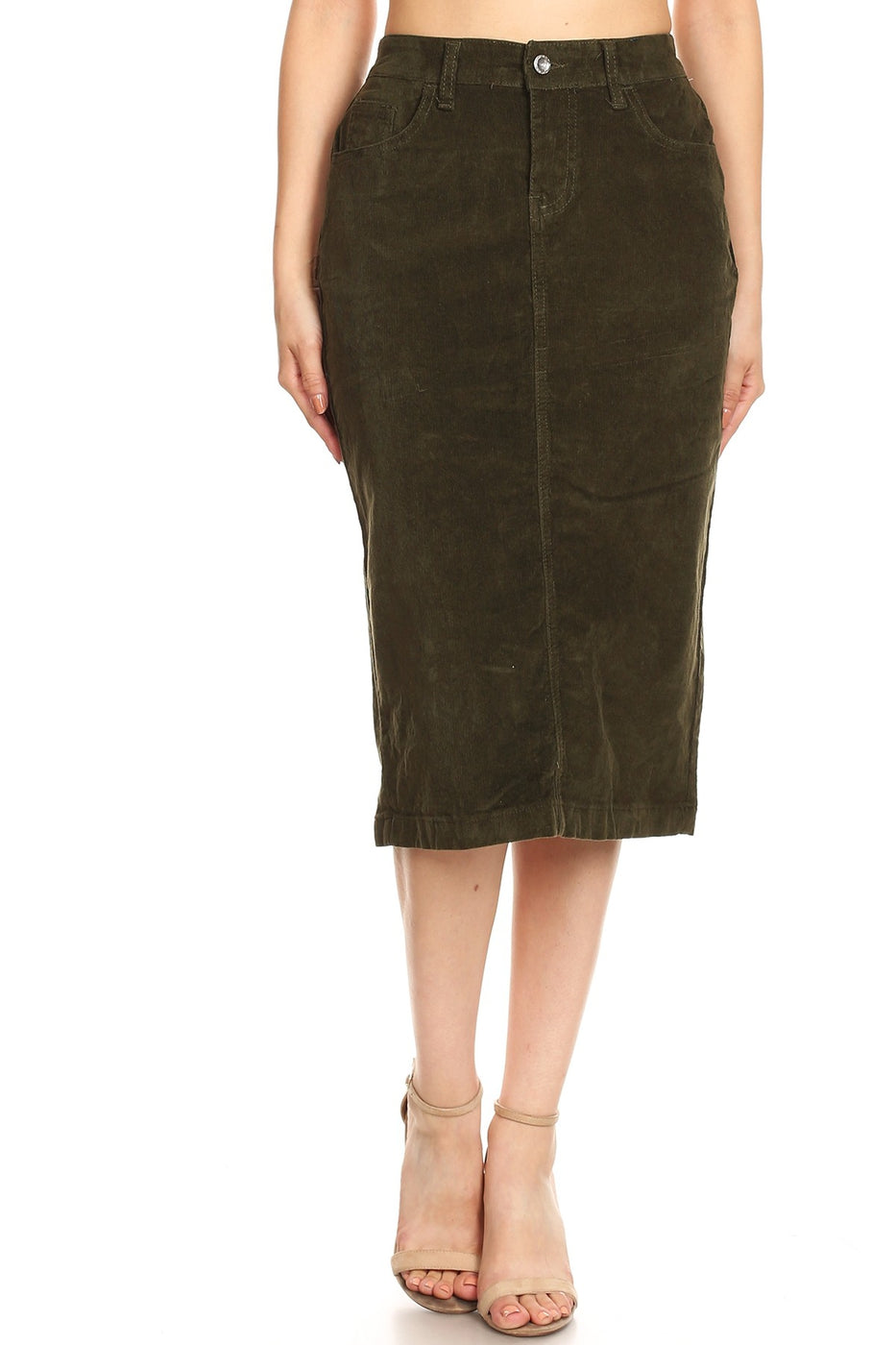 Gracey corduroy skirt in olive