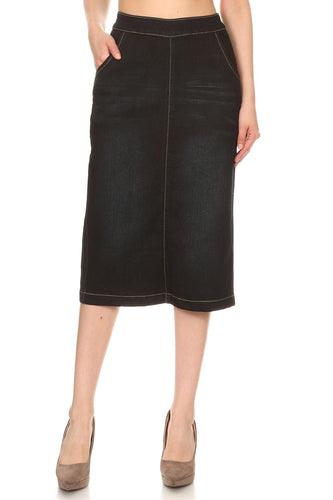 Beth Denim Black Skirt