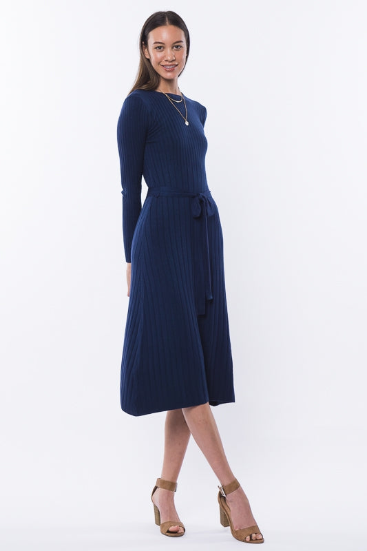 Snowy morning sweater dress in navy