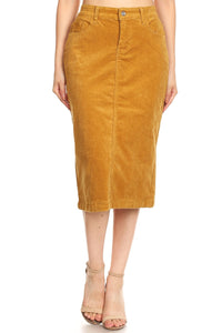 Gracey Corduroy skirt in Camel