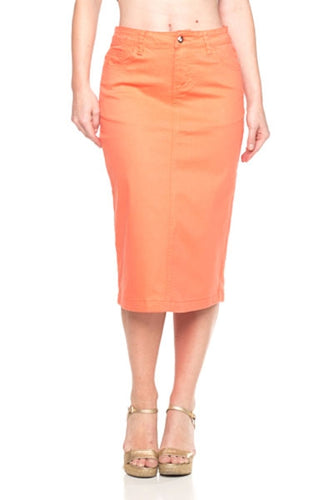 Evelyn denim skirt in Coral