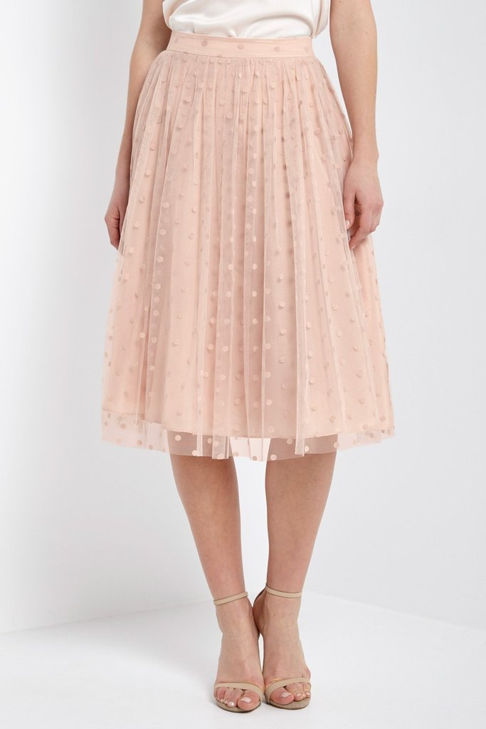 Dreamy Polka Dot Skirt in Blush
