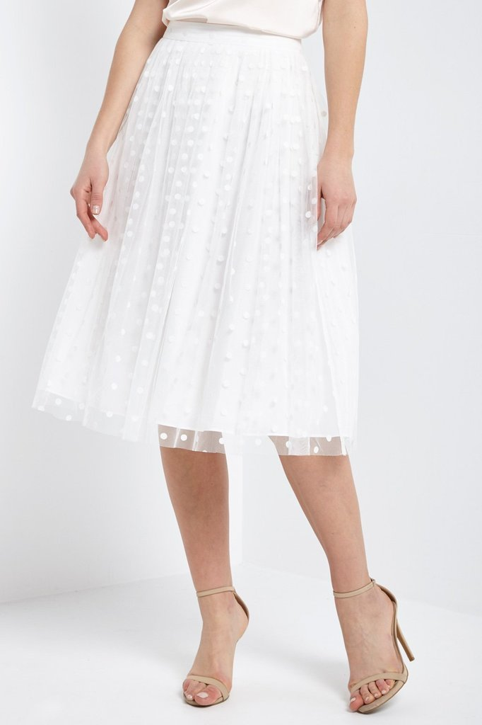 Dreamy Polka Dot Tulle Skirt in White