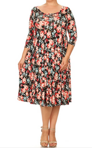 Black floral dress(PLUS SIZE)