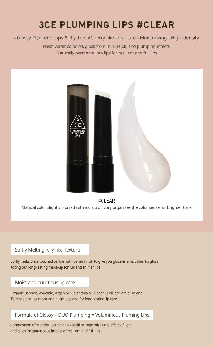 3CE PLUMPING LIPS #CLEAR australia cosme hut